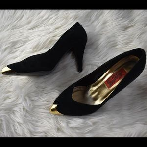 Dragon LG Simone vintage gold toe leather suede 9